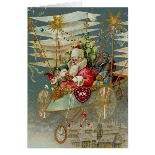 Santa & His Amazing Flying Machine Greeting Card