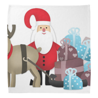 Santa & His Reindeer with Gifts Bandana