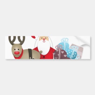 Santa & His Reindeer with Gifts Bumper Sticker