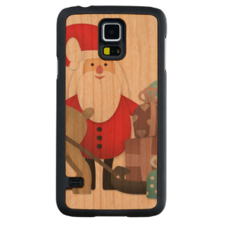 Santa & His Reindeer with Gifts Carved Cherry Galaxy S5 Case