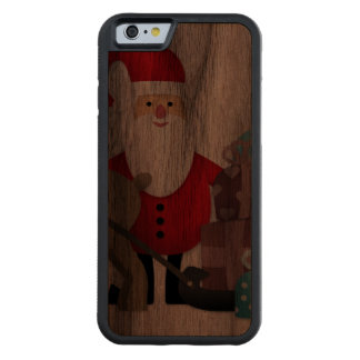 Santa & His Reindeer with Gifts Carved Walnut iPhone 6 Bumper Case