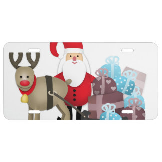 Santa & His Reindeer with Gifts License Plate