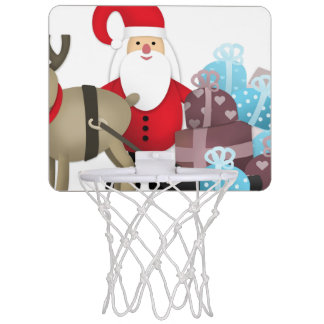 Santa & His Reindeer with Gifts Mini Basketball Hoop