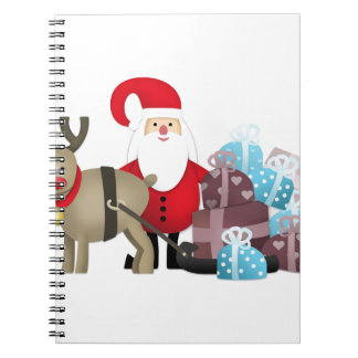 Santa & His Reindeer with Gifts Notebook