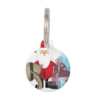 Santa & His Reindeer with Gifts Pet Tag