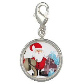 Santa & His Reindeer with Gifts Photo Charms