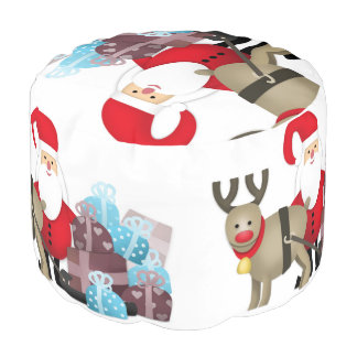 Santa & His Reindeer with Gifts Pouf