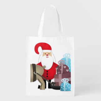 Santa & His Reindeer with Gifts Reusable Grocery Bag