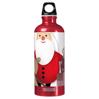 Santa & His Reindeer with Gifts Water Bottle
