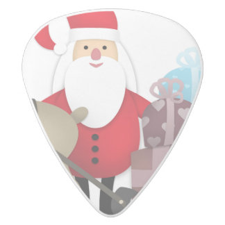 Santa & His Reindeer with Gifts White Delrin Guitar Pick