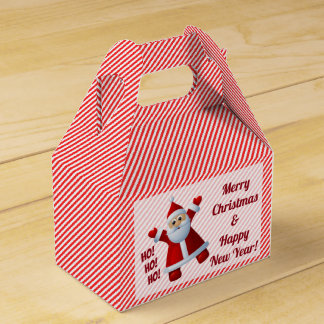 Santa Ho! Ho! Ho! Candy Cane Stripes Customize Favor Box