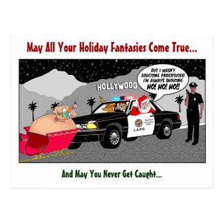 Santa Ho Ho Ho Funny Police LAPD Law Enforcement Postcard