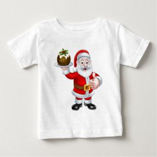 Santa Holding a Christmas Pudding Baby T-Shirt