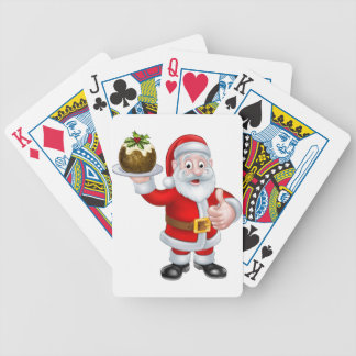 Santa Holding a Christmas Pudding Bicycle Playing Cards