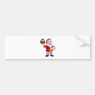 Santa Holding a Christmas Pudding Bumper Sticker
