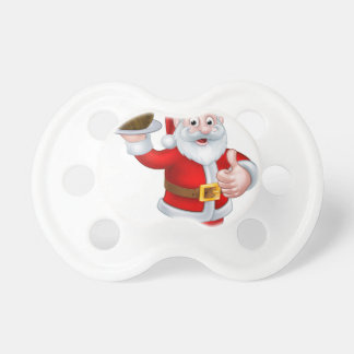 Santa Holding a Christmas Pudding Pacifier