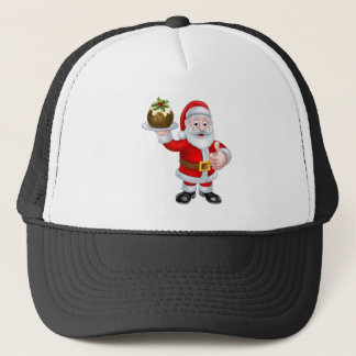 Santa Holding a Christmas Pudding Trucker Hat