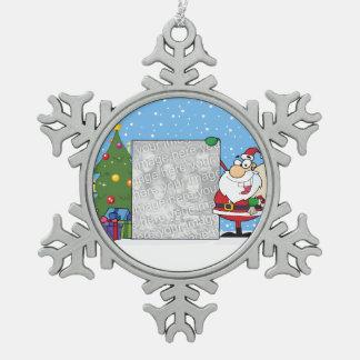 Santa Holding Photo Pewter Snowflake Ornament