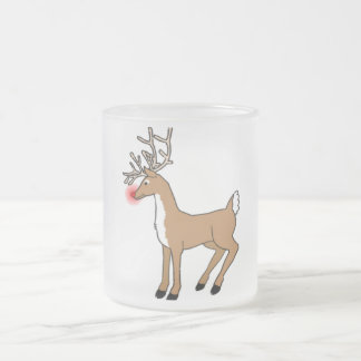 Santa Holiday Sleigh Red Nosed Reindeer 10 Oz Frosted Glass Coffee Mug
