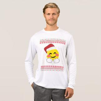 Santa Hug Smiley Emoji T-shirt Ugly Christmas