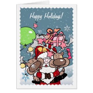 Santa Hugging his Reindeers Card
