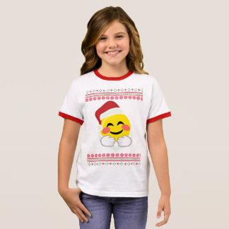 Santa, hugs smiley emoji, ugly Christmas, happy ho Ringer T-Shirt