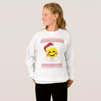 Santa, hugs smiley emoji, ugly Christmas, happy ho Sweatshirt