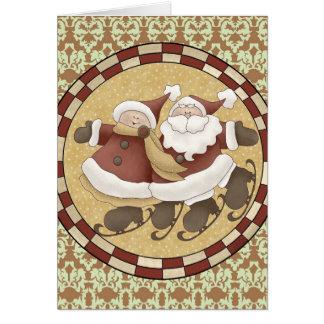 Santa Ice Skating Christmas Card