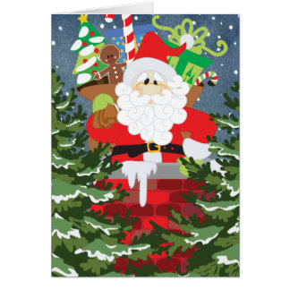 Santa in a chimney starry night card