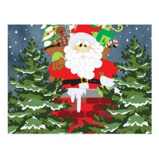 Santa in a chimney starry night postcard