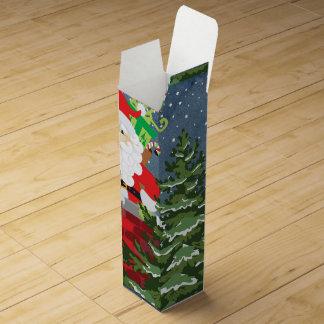 Santa in a chimney starry night wine box