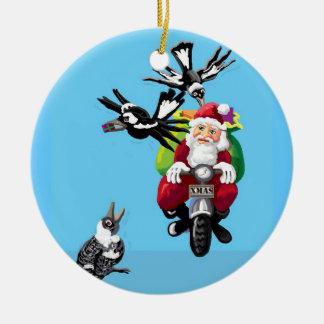 Santa in Australia Ceramic Ornament
