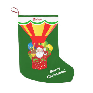 Santa in Balloon Personalized Small Christmas Stocking