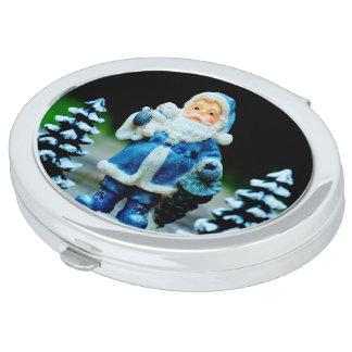 Santa in Blue Compact Mirrors