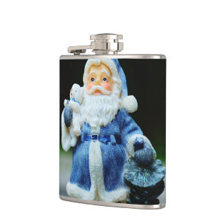 Santa in Blue Flasks