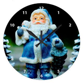 Santa in Blue Wall Clocks