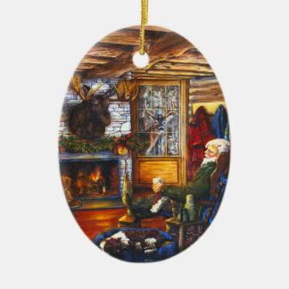 Santa In Cabin | Rustic Christmas Holiday Tree Ceramic Ornament