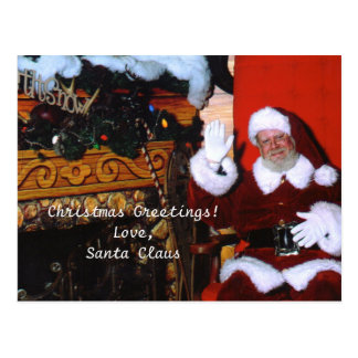 Santa in Frosty Forest, Christmas Greetings! Postcard