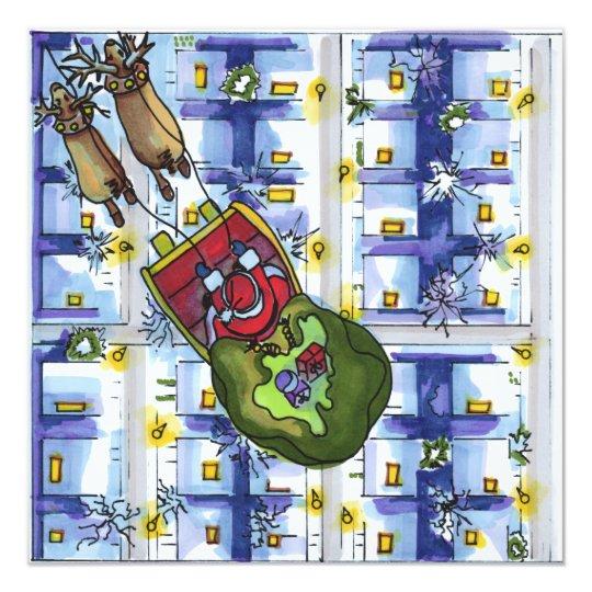 Santa in his sleigh card