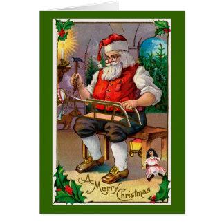 Santa in His Workshop Card