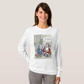 Santa In Jail women l-slv Christmas cartoon shirt
