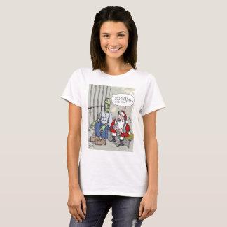 Santa In Jail womens Christmas cartoon shirt