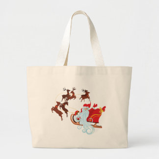 Santa in Sleigh Large Tote Bag