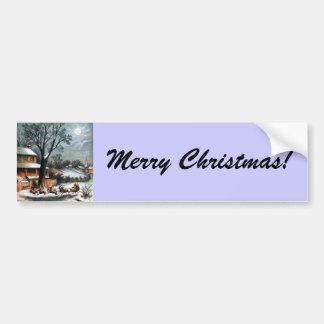 Santa in Sleigh with reindeer Bumper Sticker