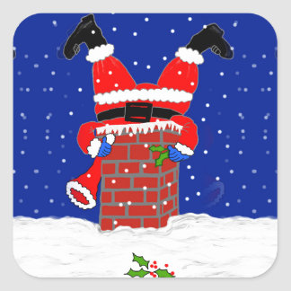 Santa in the Chimney on Square Stickers