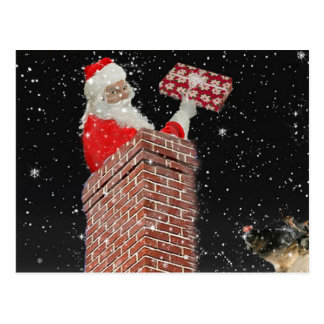 Santa in the chimney post card