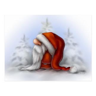 Santa in the snow postcard