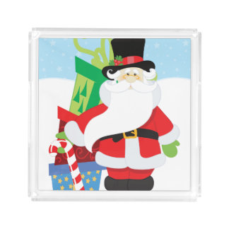 santa in tophat by  stack of presentts acrylic tray