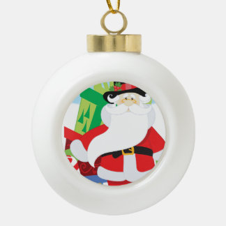 santa in tophat by  stack of presentts ceramic ball christmas ornament