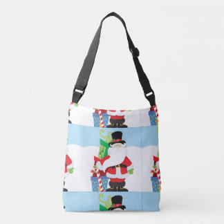 santa in tophat by  stack of presentts crossbody bag